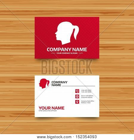 Business card template. Head sign icon. Female woman human head with pigtail symbol. Phone, globe and pointer icons. Visiting card design. Vector