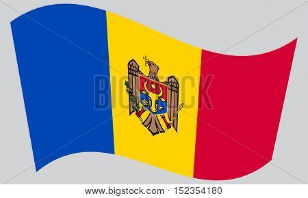 Moldovan national official flag. Patriotic symbol banner element background. Correct colors. Flag of Moldova waving on gray background vector