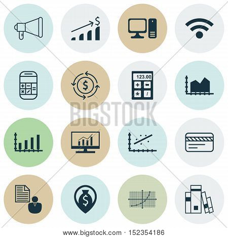 Set Of 16 Universal Editable Icons For Marketing, Statistics And Airport Topics. Includes Icons Such