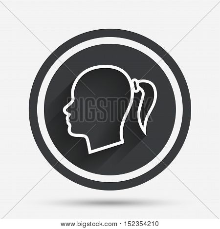 Head sign icon. Female woman human head with pigtail symbol. Circle flat button with shadow and border. Vector poster