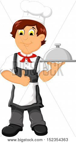 funny chef cartoon holding plate for you design