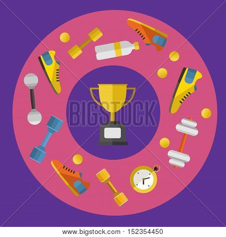 Gold winner cup with sports equipment, vector illustration in flat style. Different athletic equipments around gold trophy cup on purple background. Champion concept
