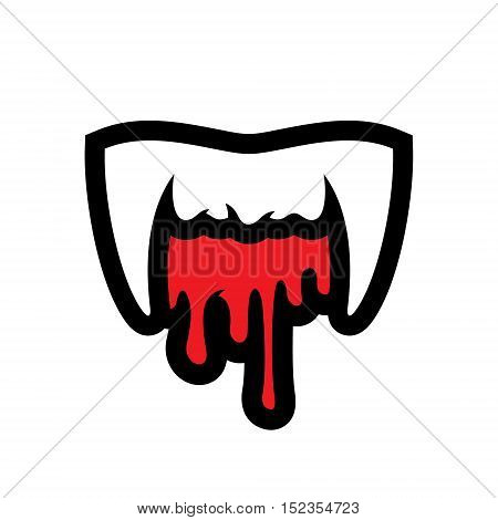 White fangs and blood. Isolated on a white Background