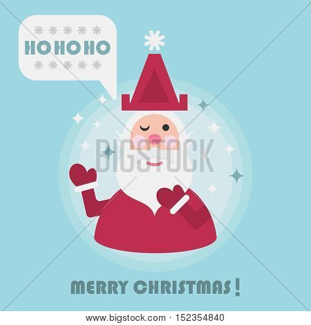 Merry Christmas holiday card with cute Santa and Ho Ho Ho speech bubble icon on blue background