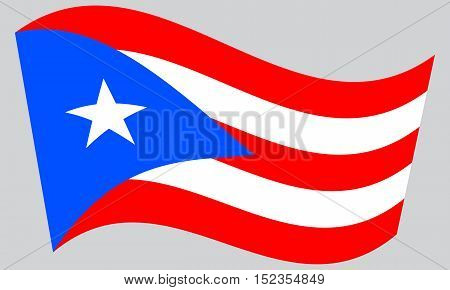 Puerto Rican national official flag. Patriotic symbol banner element background. Correct colors. Flag of Puerto Rico waving on gray background vector
