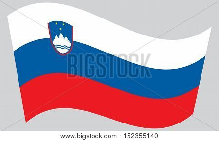 Slovenian national official flag. Patriotic symbol banner element background. Correct colors. Flag of Slovenia waving on gray background vector
