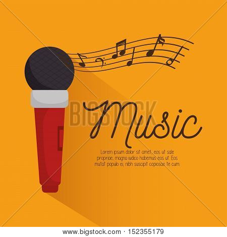music festival instrument poster microphone vector illustration design