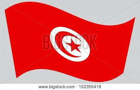 Tunisian national official flag. African patriotic symbol banner element background. Correct colors. Flag of Tunisia waving on gray background vector