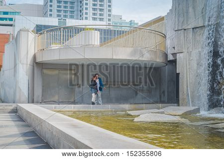 San Francisco California - Outubro 13 2016: view from the base of the powerful Martin Luther King Jr. memorial in Yerba Buena Park with waterfall in San Francisco CA.