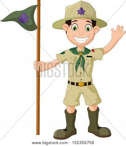 cute boy scout cartoon holding pole yelling