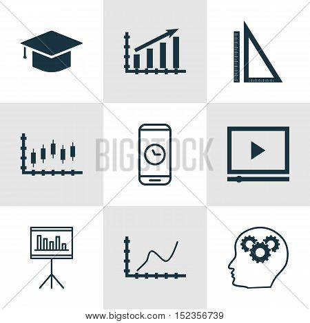 Set Of 9 Universal Editable Icons For Project Management, Airport And Education Topics. Includes Ico