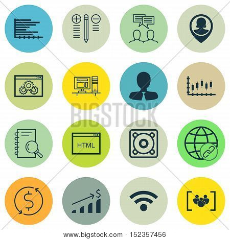 Set Of 16 Universal Editable Icons For Human Resources, Airport And Computer Hardware Topics. Includ