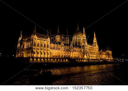 Hungarian Parliament illuminated at night Budapest Hungary