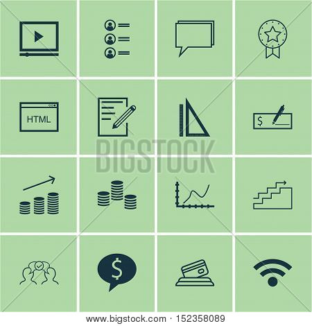 Set Of 16 Universal Editable Icons For Business Management, Project Management And Computer Hardware
