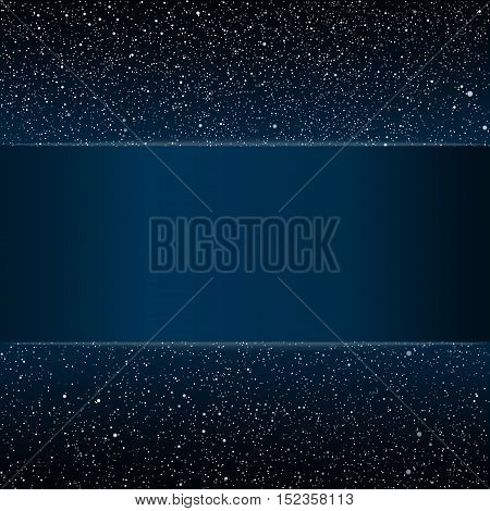 Stock rectangular frame. Vector background. Starry night sky. Stars, sky, night. Blue stripe, the card against the starry sky.