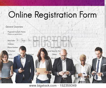 Online Application Form Document Concept
