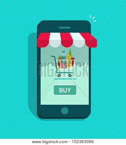 Mobile online store vector illustration isolated, smartphone as storefront with shopping cart and buy now button, concept of mobile phone order, purchase, internet shop showcase, ecommerce