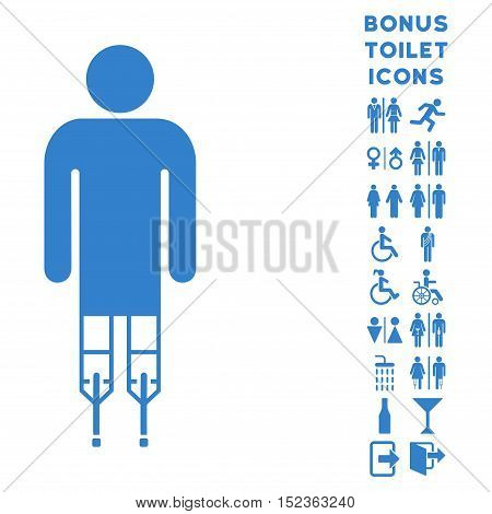 Man Crutches icon and bonus gentleman and female toilet symbols. Vector illustration style is flat iconic symbols, cobalt color, white background.