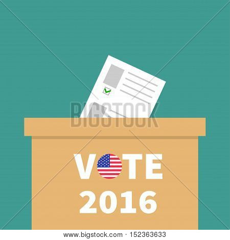 Big Ballot Voting box with paper blank bulletin Choice concept. Polling station. President election day Vote text round badge button. Green background Flat design Card. Vector illustration
