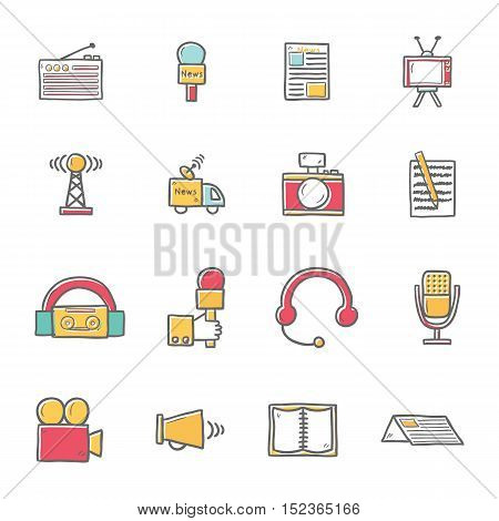 Vector Cartoon Hand Drawn Journalism Icons Illustration