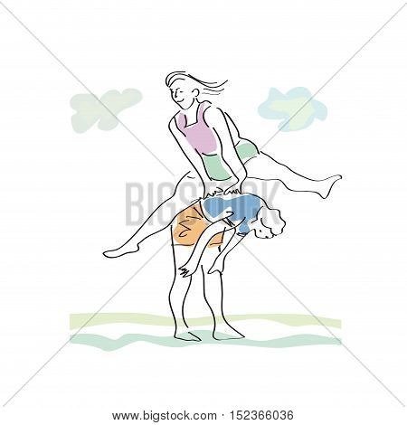 Vector drawing abstract game of leap illustration isolated in white