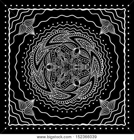 Black and white oriental bandana scarf design. Vector illustration