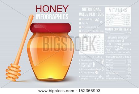 Honey infographic. Jar of honey. Vitamin and minerals. Benefit of hony. information and charts. vector illustration