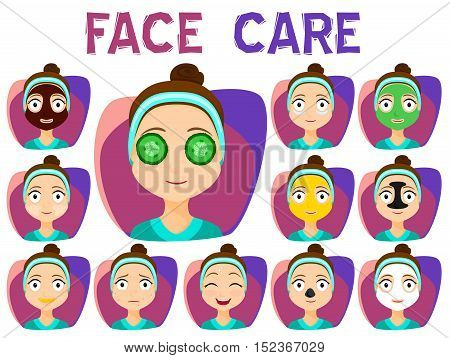 Set of Girls Cleaning and care face Treatment Beauty Cosmetic Makeup Healthy Lifestyle. Face mask. Vector stock