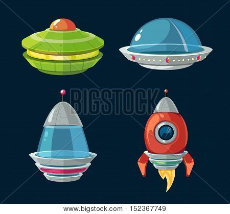 Spaceship and spacecrafts cartoon set for space computer and smartphone game. Ufo and shuttle for space flight and exploration illustration