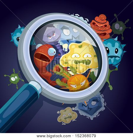 Microorganism, microscopic bacteria, pandemic virus, epidemic germs under magnifying glass vector medical and contamination concept. Unhygienic harmful influenza illustration poster