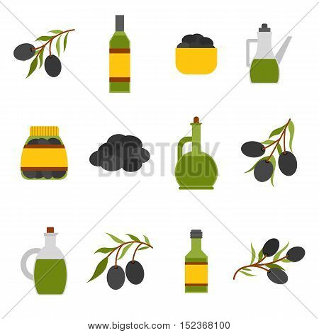 Vector Flat Cartoon Oil Bottle And Olives