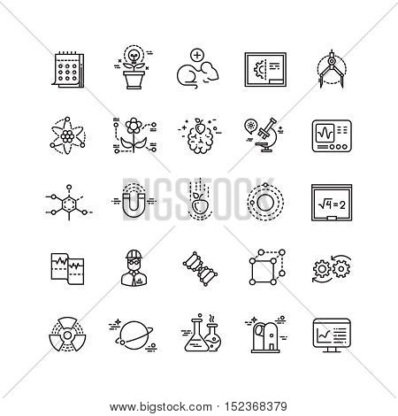 Science lab innovation chemical research thin line vector icons. Experiment in laboratory, chemistry equipment illustration