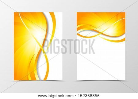 Flyer template vortex design. Abstract flyer template with gold wavy lines. Swirl wave spectrum flyer design. Vector illustration poster