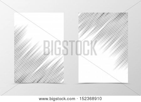 Grid flyer template design. Abstract flyer template in gray color with square surface. Geometirc flyer design. Vector illustration