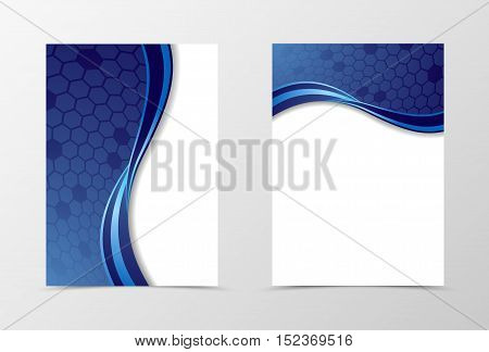 Grid flyer template design. Abstract flyer template in blue color with hexagons. Wave flyer design. Vector illustration