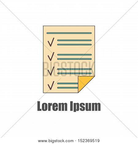 Vector illustration with flat line isolated to do list on white background. Office or school paper of notebook. To do list reminder for business. Notepaper on white background. Flat vector icon