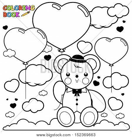 Vector Illustration of a teddy bear flying in the sky holding a heart balloon. Coloring book page.