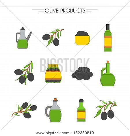 Vector illustration with flat cartoon oil bottle and olive branch. Italy Greece mediterranean cuisine. Extra virgin vector olive oil icons. Organic natural healthy oil. Olive icons for food design