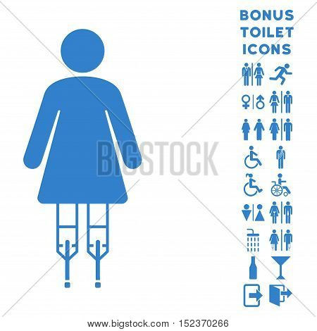 Woman Crutches icon and bonus male and female WC symbols. Vector illustration style is flat iconic symbols, cobalt color, white background.