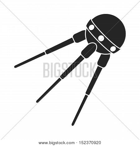 Sputnik One icon in  black style isolated on white background. Space symbol vector illustration.