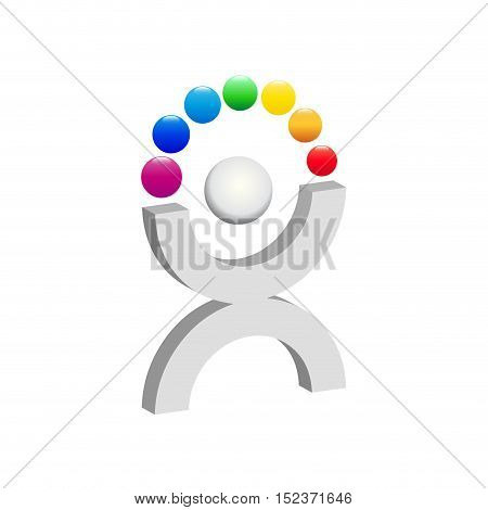 Vector sign juggling with balls illustration isolated in white