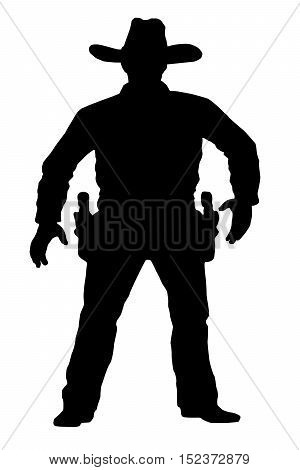 Vector cowboy is in full growth. Target shooting. A man with a gun on a white background. Duel on the revolver.