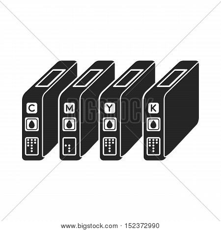 Ink cartridges in  black style isolated on white background. Typography symbol vector illustration.