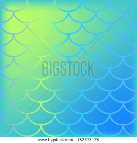 Fish skin vector background with blue yellow and turquoise colors. Mesh or gradient effect mermaid scale pattern. Colorful sea fish scales swatch. Mermaid backdrop for wedding decor or graphic design