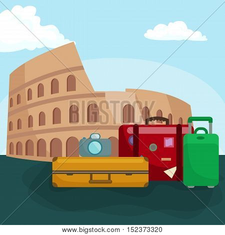 Travel concept. Travel bag. Travel passport. Travel camera. Travel ticket. Travel airplane. Travel Isometric Travel flat. Travel 3d. Travel vector. Travel illustration. Travel insurance Travel luxury
