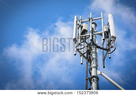 Mobile phone base station with blue sky background