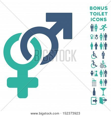 Heterosexual Symbol icon and bonus male and female restroom symbols. Vector illustration style is flat iconic bicolor symbols, cobalt and cyan colors, white background.