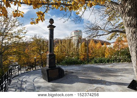 PETROPAVLOVSK-KAMCHATSKY KAMCHATKA RUSSIA - OCT 12 2016: Historical Monument to Captain-Commander Bering Vitus Jonassen an officer in Russian Navy founder of Petropavlovsk-Kamchatsky City.