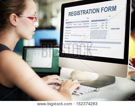 Registration Form Application Information Concept