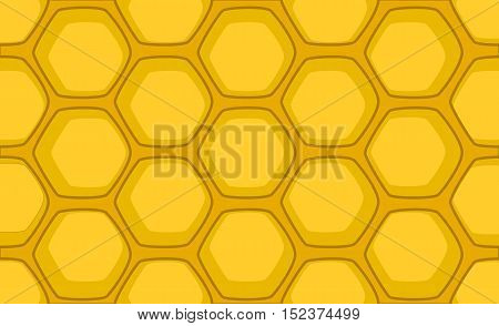 Honeycomb vector illustration for background. Cartoon style handdrawn honeycomb pattern. Bright yellow honey comb for backdrop web design honey product package.
